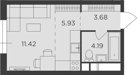 Студия, 25.22 м²