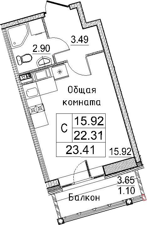 Студия, 23.41 м²