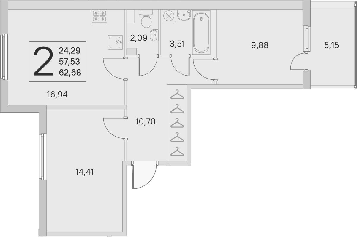 3Е-к.кв, 57.53 м², 2 этаж
