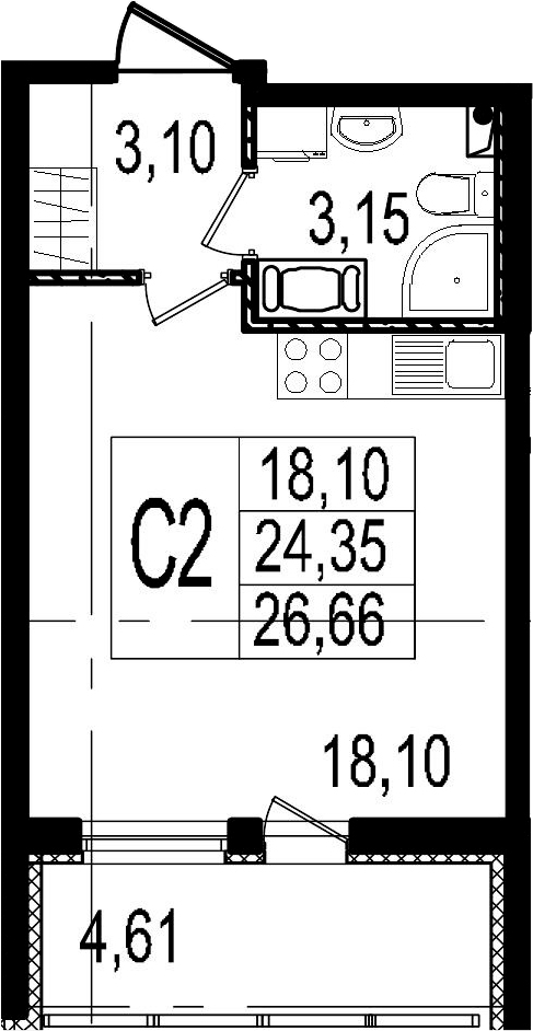 Студия, 24.35 м², 4 этаж