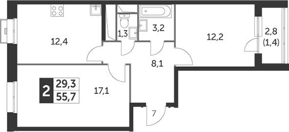 2-комнатная, 55.7 м²– 2