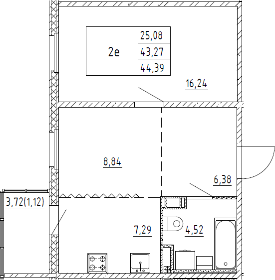 2Е-к.кв, 44.39 м², 7 этаж