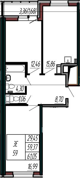 3-к.кв (евро), 62.73 м²