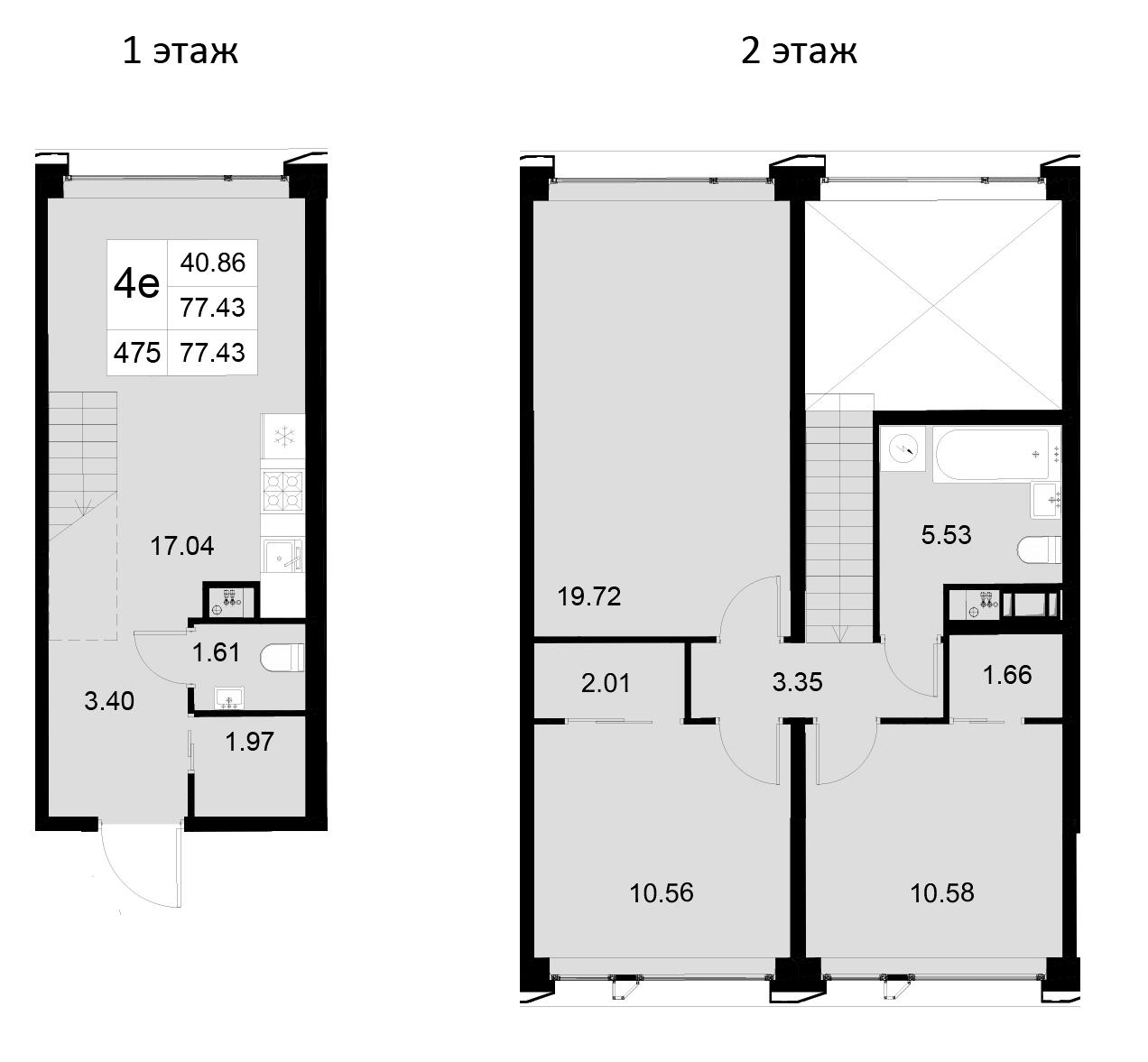 4Е-к.кв, 77.43 м²