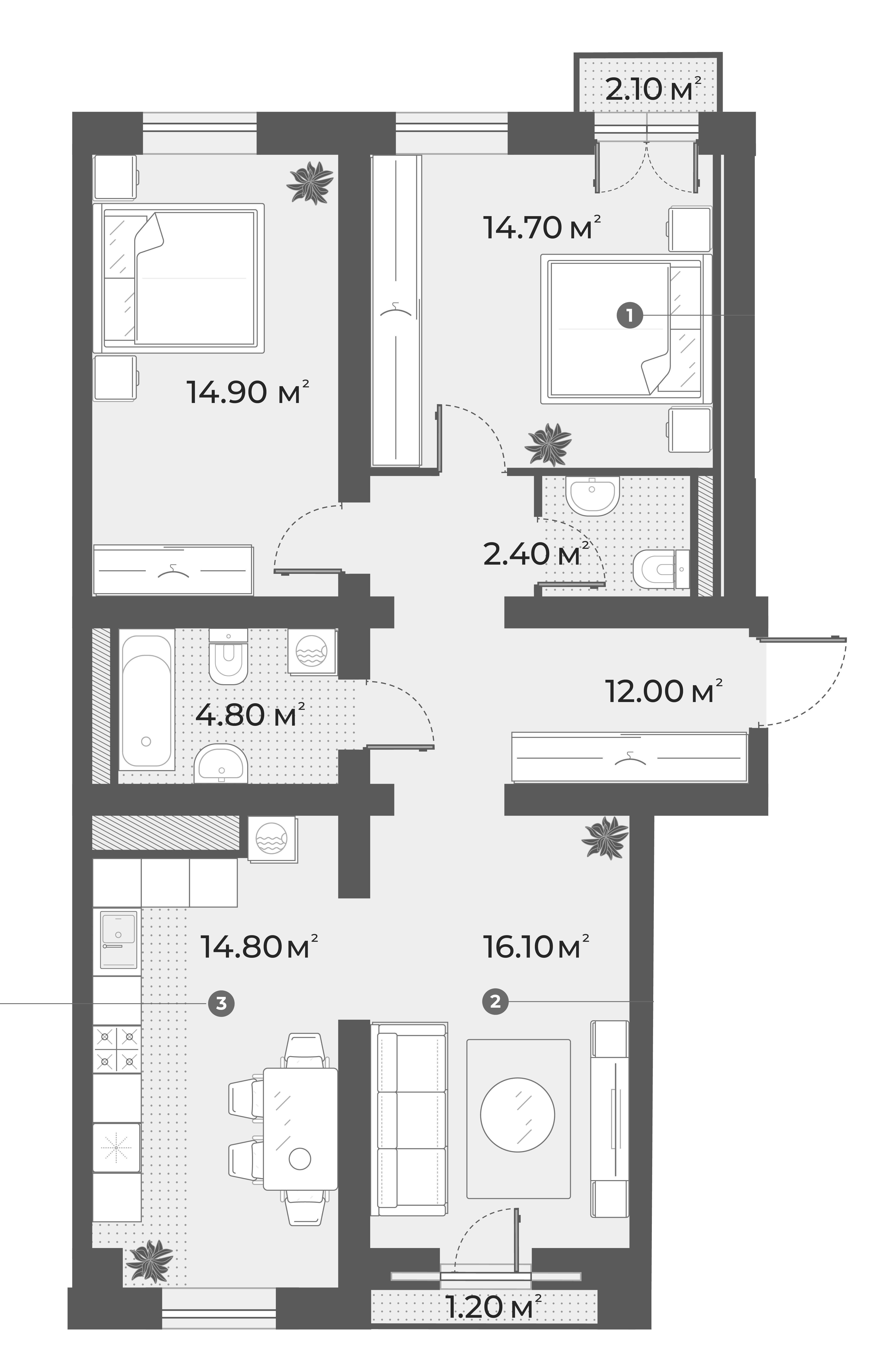 3-к.кв, 79.7 м², 2 этаж