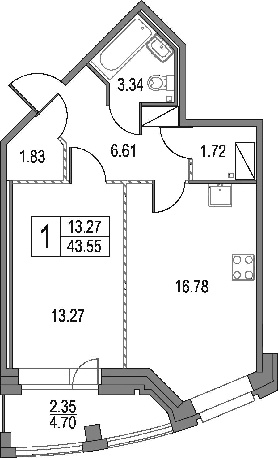 2Е-к.кв, 43.55 м², от 20 этажа