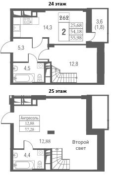 2-комнатная, 55.98 м²– 2