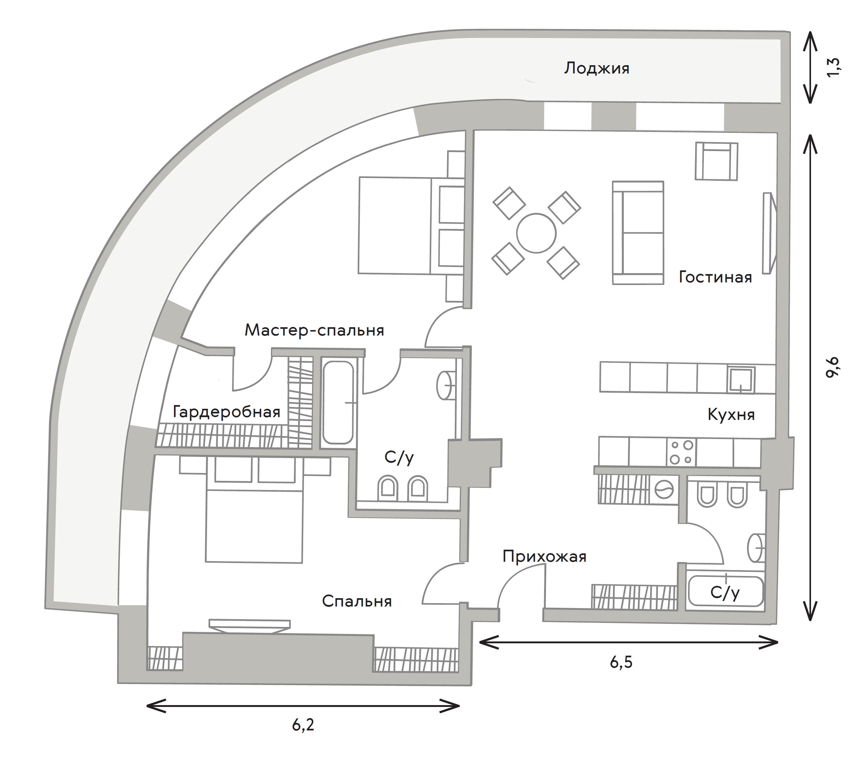 3Е-комнатная, 113.7 м²– 2