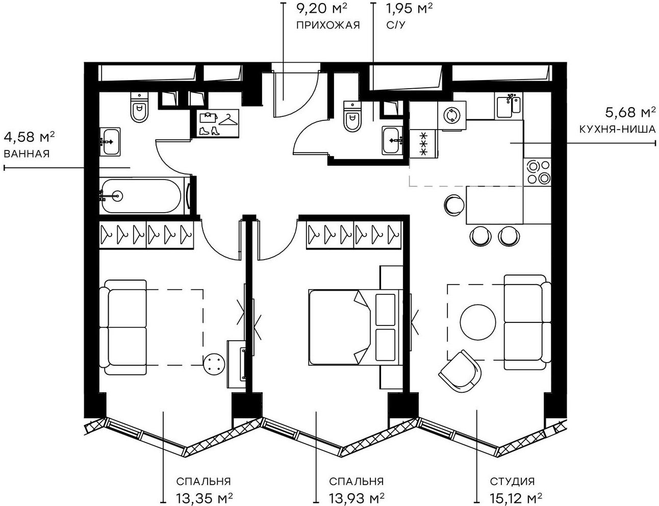 3Е-комнатная, 63.81 м²– 2