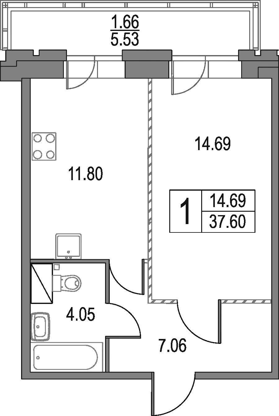 1-к.кв, 37.6 м², 23 этаж