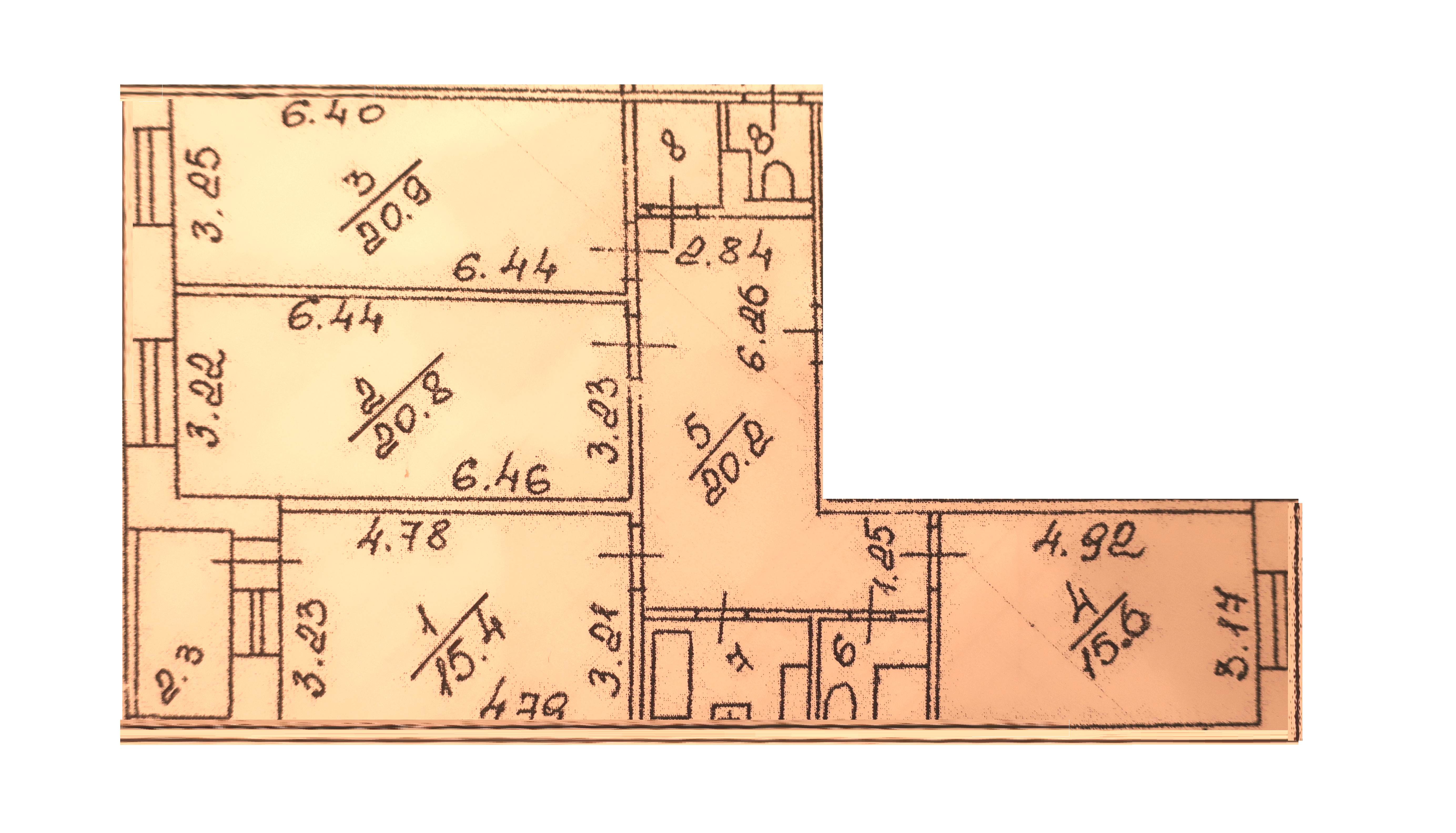 3-комнатная квартира, 103.7 м², 6 этаж – Планировка