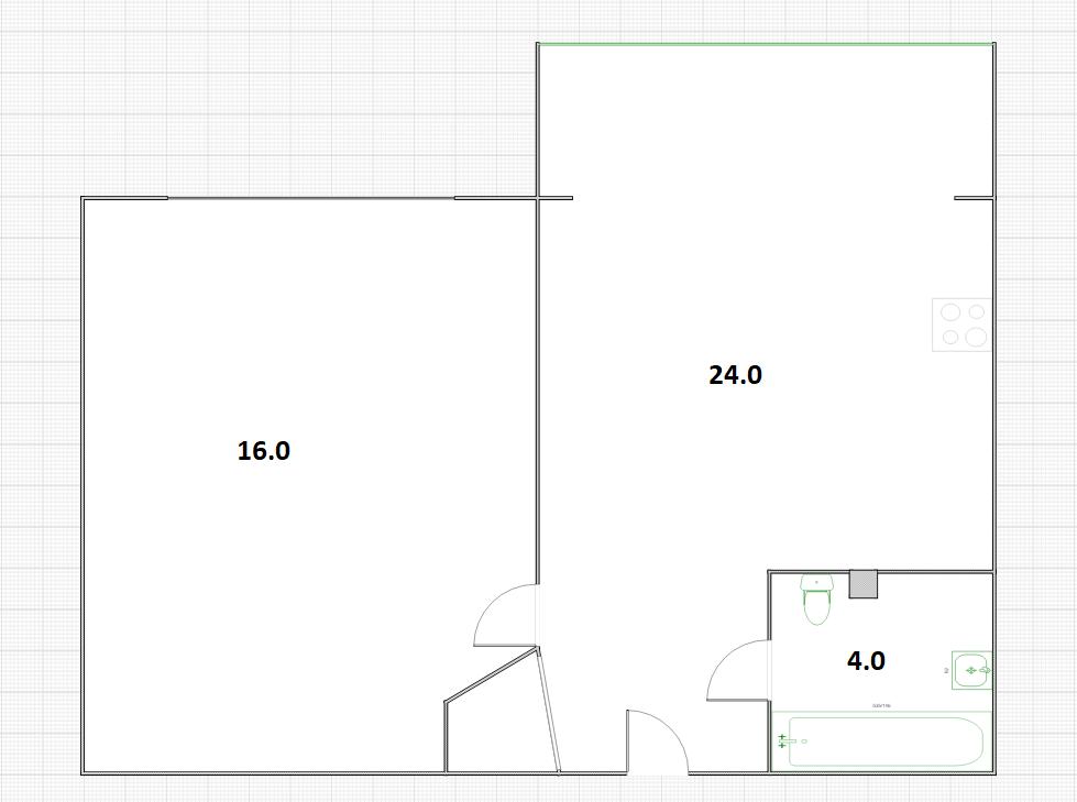 1-к.кв, 44 м²