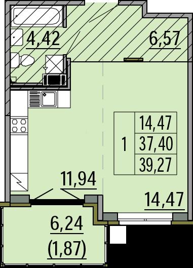 Студия, 39.27 м²– 2