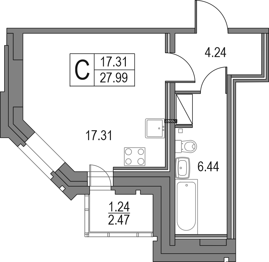 Студия, 27.99 м²– 2