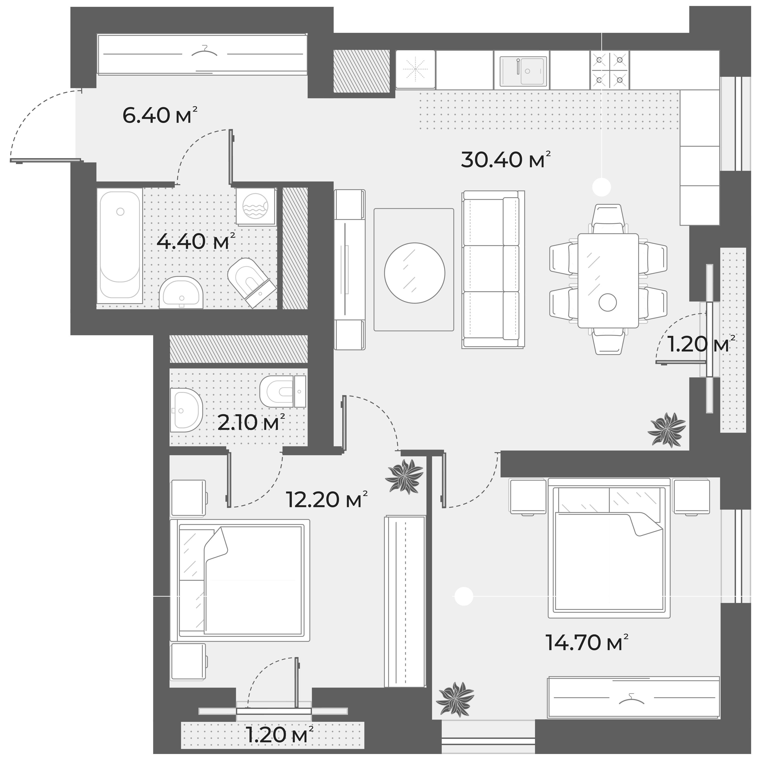 3Е-к.кв, 70.2 м², 2 этаж