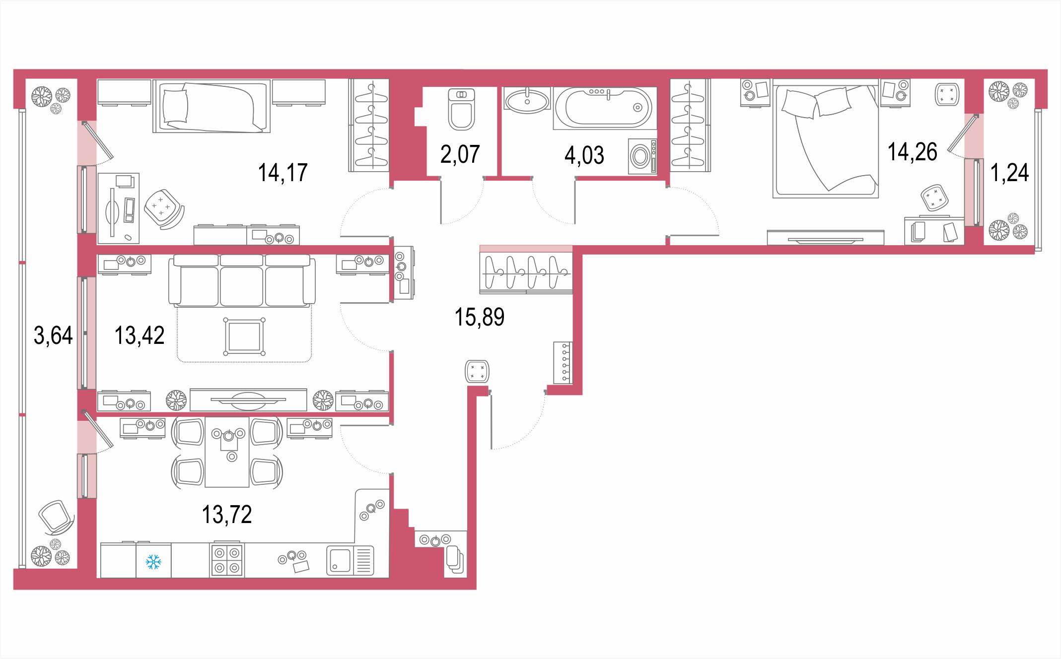 3-комнатная, 82.44 м²– 2