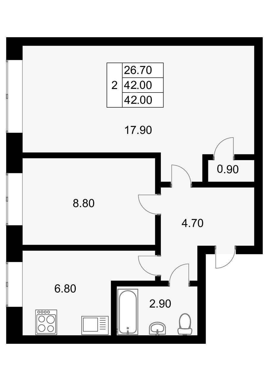 2-к.кв, 42 м²