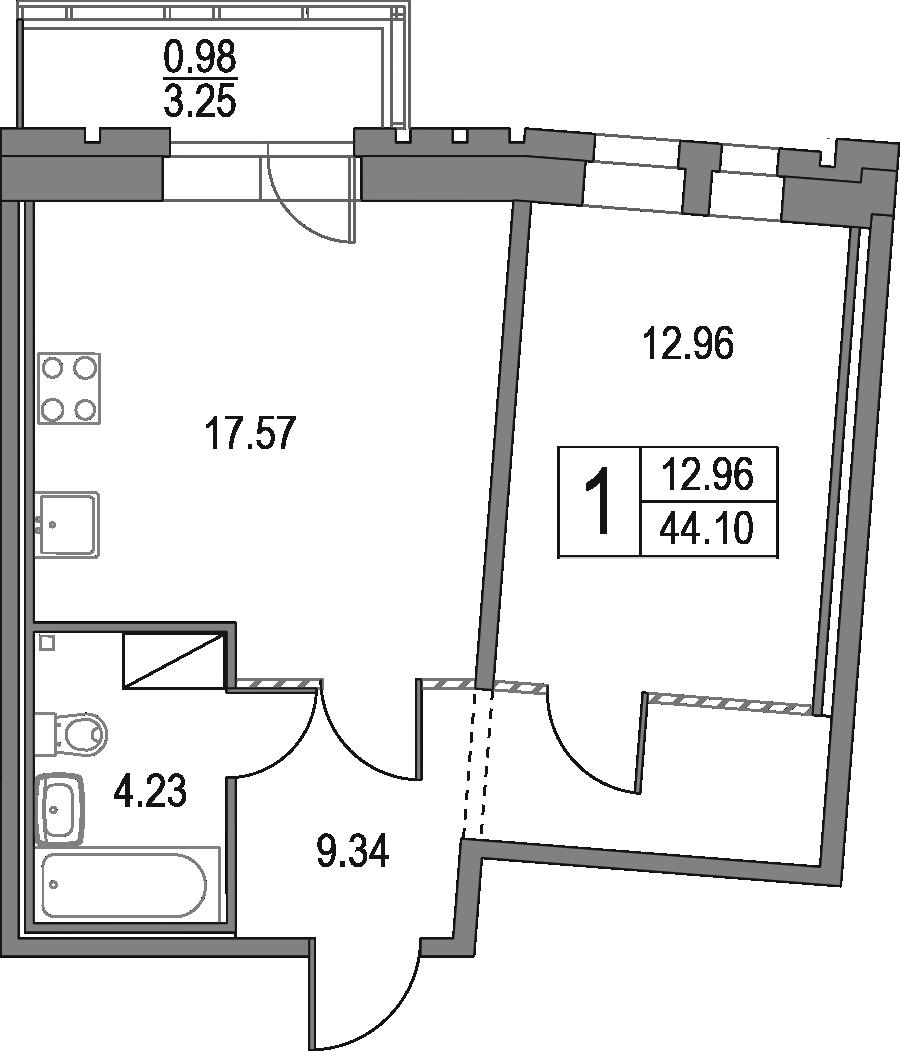 2Е-к.кв, 44.1 м², 23 этаж