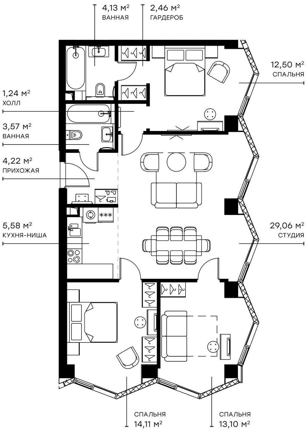 4Е-комнатная, 89.97 м²– 2