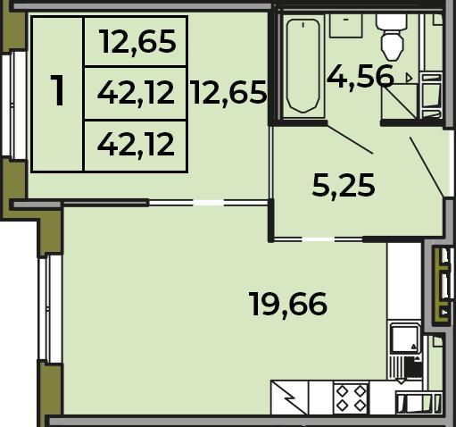 2Е-комнатная, 42.12 м²– 2