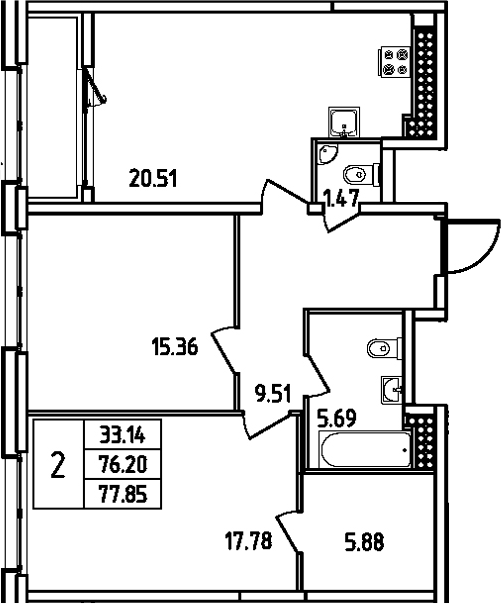 3Е-комнатная, 77.85 м²– 2