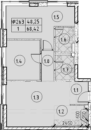 3Е-к.кв, 68.42 м²