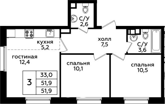 3Е-комнатная, 51.9 м²– 2