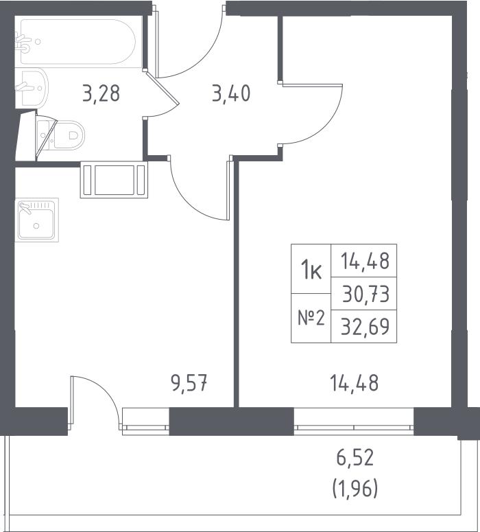 1-к.кв, 32.69 м², от 5 этажа