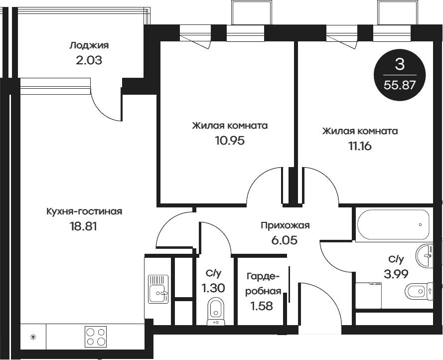 3Е-к.кв, 55.87 м²