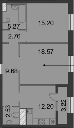 2-к.кв, 67.82 м²