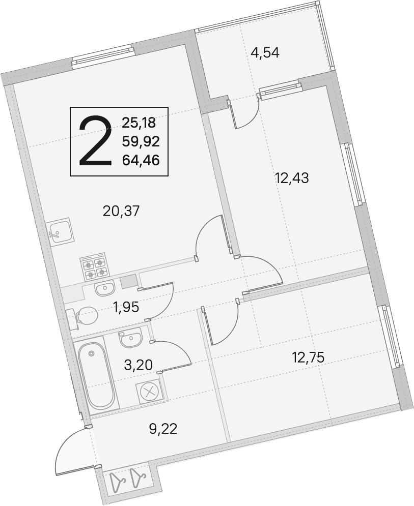 3Е-комнатная квартира, 59.92 м², 2 этаж – Планировка