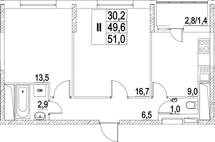 2-к.кв, 52.4 м²