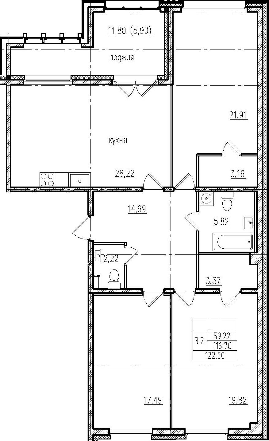 4Е-комнатная, 122.6 м²– 2