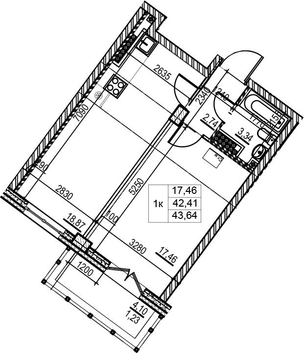1-к.кв, 43.64 м², 7 этаж