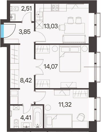 2-комнатная, 57.61 м²– 2