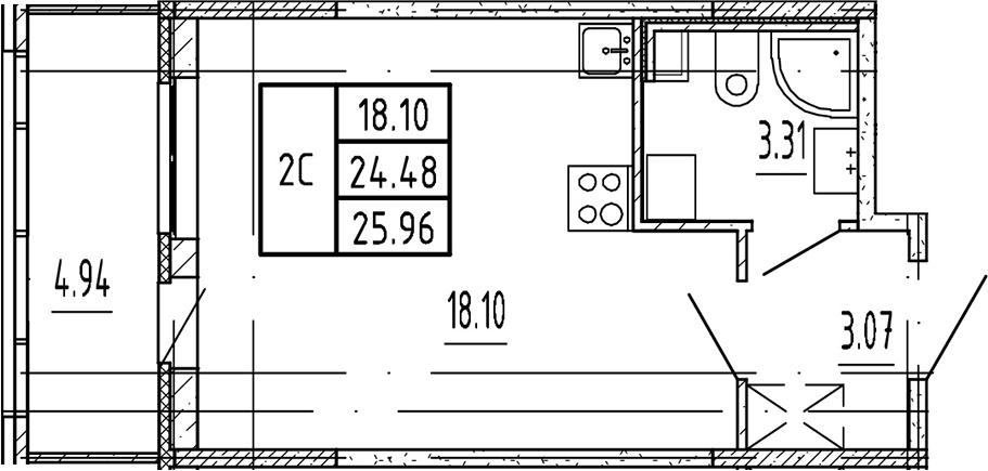 Студия, 24.48 м²– 2