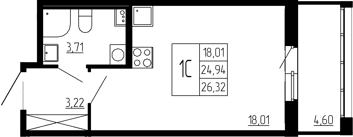 Студия, 24.94 м²– 2