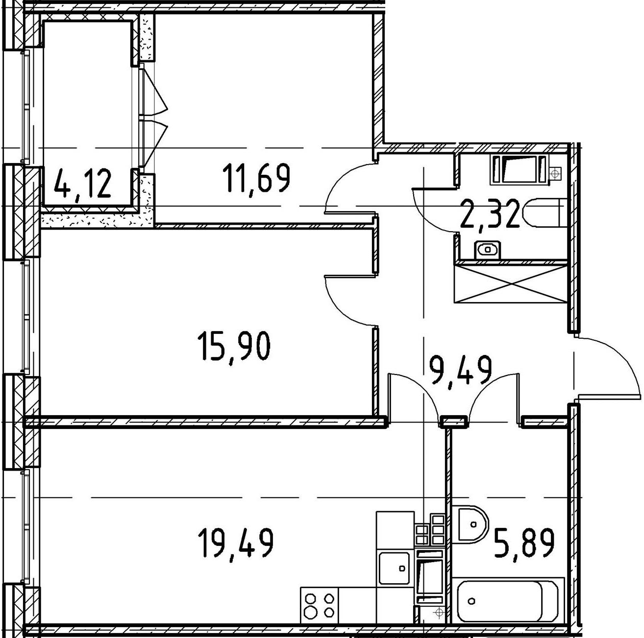 2-к.кв, 64.78 м²