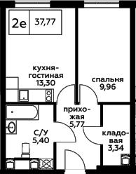 2Е-к.кв, 37.77 м², 16 этаж