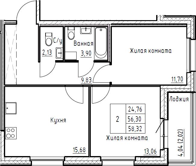 3Е-к.кв, 58.32 м², 3 этаж