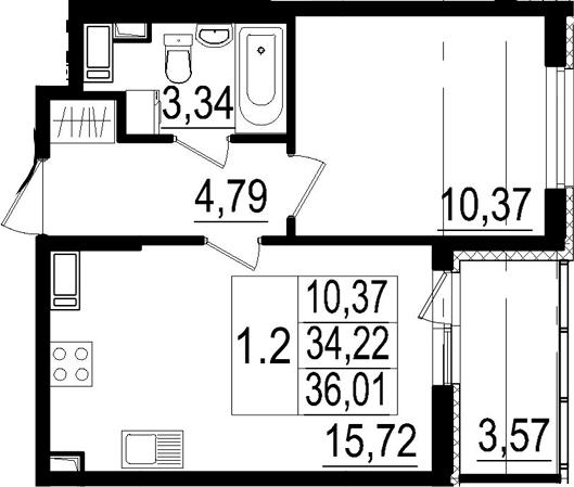 2Е-к.кв, 34.22 м², от 3 этажа