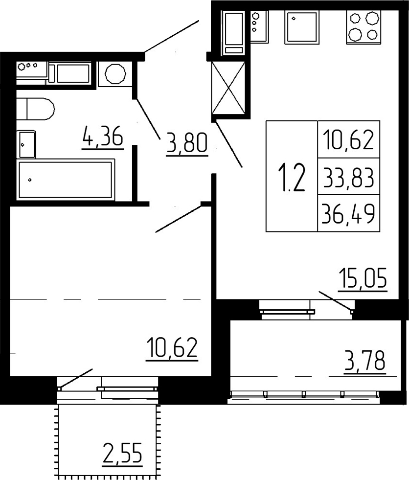 2-к.кв (евро), 40.16 м²