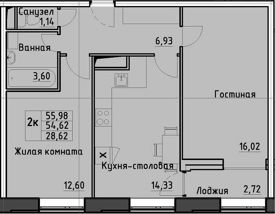 2-к.кв, 55.98 м²