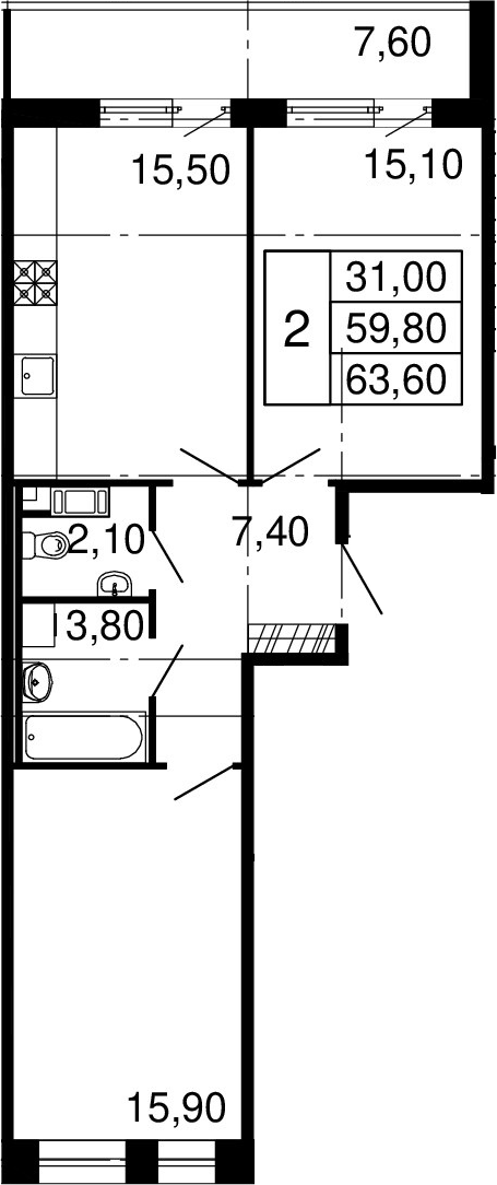 3-к.кв (евро), 67.4 м²
