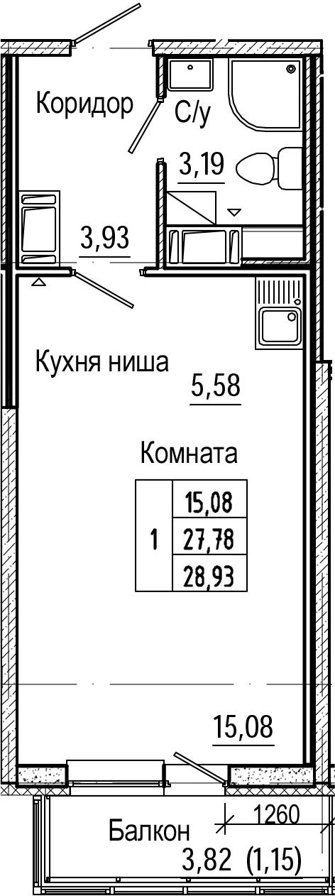 Студия, 28.93 м², 19 этаж