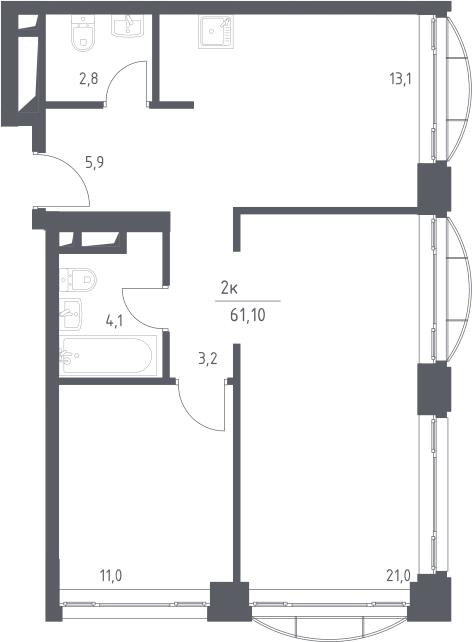 2-к.кв, 61.1 м²