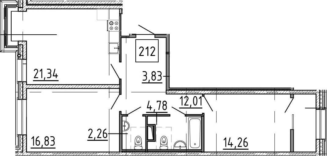 3-к.кв (евро), 75.2 м²