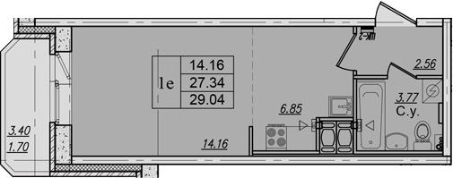 Студия, 30.74 м²
