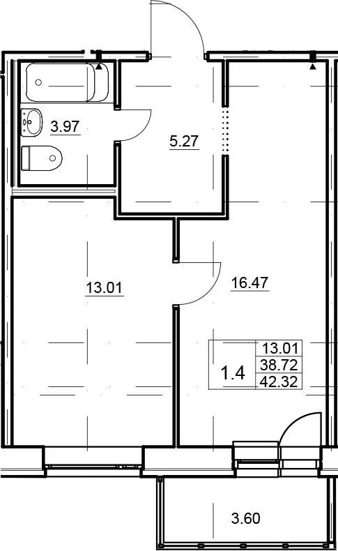 2Е-комнатная, 38.72 м²– 2