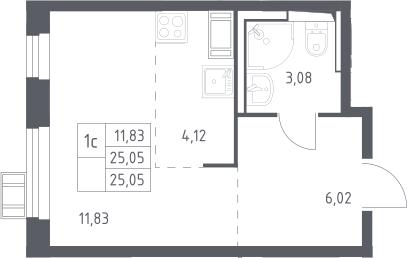 Студия, 25.05 м², 13 этаж